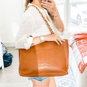 CHANEL large brown shopper tote gold chain vintage